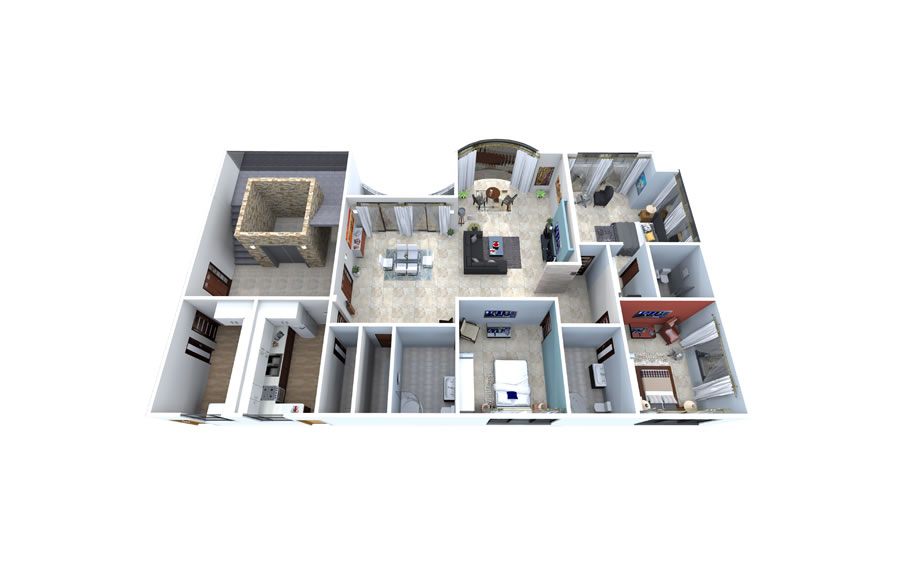 3 D representation of the flats